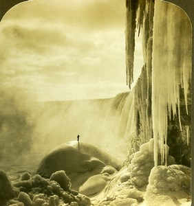 USA Frozen Niagara Falls Ice & Snow Winter Scene Old Young Stereoview Photo 1900