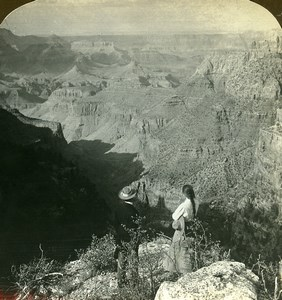 USA Colorado Grand Canyon Panorama Old Young Stereoview Photo 1900