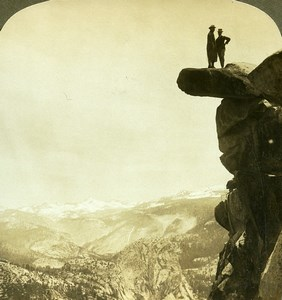 USA Yosemite Valley Glacier Rock Old Young Stereoview Photo 1900