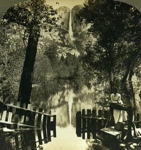 USA California Yosemite Falls Nature's Mirror Old Young Stereoview Photo 1900