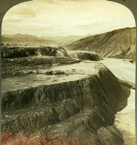 USA Yellowstone Park Jupiter Terrace Old Young Stereoview Photo 1900