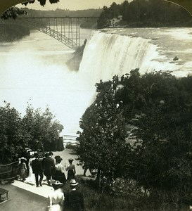 USA Niagara Falls from Luna Island American Stereoscopic Stereoview Photo 1900