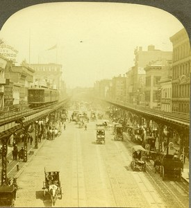 USA New York along the Bowery Old Milford Wright Stereoview Photo 1900