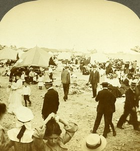 USA New York Coney Island Beach Milford Wright Excelsior Stereoview Photo 1900