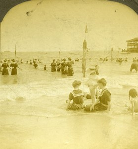 USA New York Coney Island  Old Milford Wright Excelsior Stereoview Photo 1900