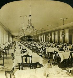 USA Saratoga Springs Grand Union Hotel Dining Room White Stereoview Photo 1900