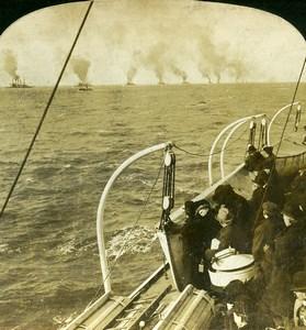 USA American Battleships leaving Hampton roads Old White Stereoview Photo 1900