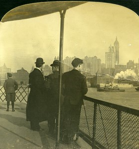 USA New York Panorama Singer Tower Ancienne Photo Stereo White 1900
