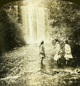 USA Minnesota Minnehaha Falls Old White Stereoview Photo 1900