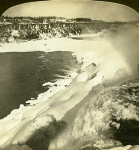USA chutes du Niagara Falls vue de Luna Island Ancienne Photo Stereo White 1900