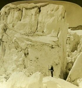 USA Oregon Elliot Glacier Mount Hood Old White Stereoview Photo 1900