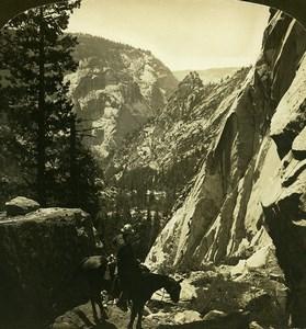 California Yosemite Nevada Trail Merced Canyon old White Stereoview Photo 1900