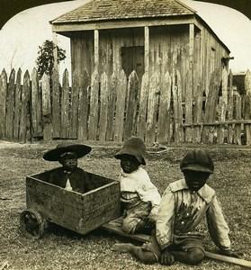 USA Alabama Baby Carriage Black Children Old White Stereoview Photo 1900