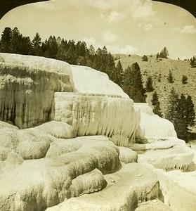 Yellowstone Mammoth Hot Springs Cleopatra Terrace White Stereoview Photo 1900