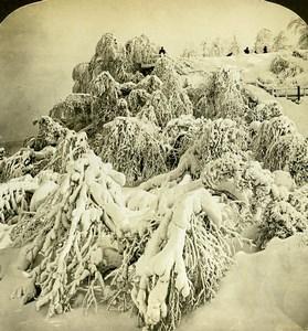 USA Niagara Falls Ice & Snow Goat Island Old White Stereoview Photo 1900