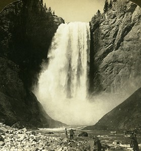 USA Yellowstone Park Great Falls Old White Stereoview Photo 1900