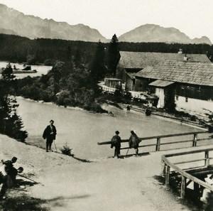 Germany Bavarian Alps Wettersteingebirge Old NPG Stereoview Photo 1906