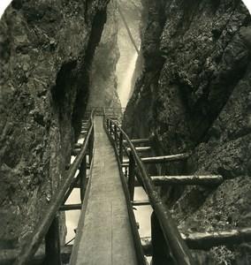 Germany Bavarian Alps Leutaschklamm Mittenwald Old NPG Stereoview Photo 1906
