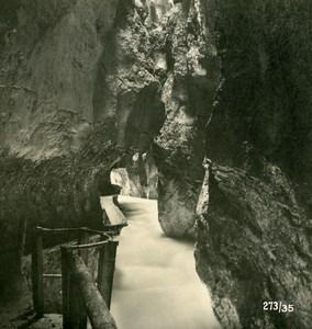 Germany Bavarian Alps Partnachklamm Old NPG Stereoview Photo 1906