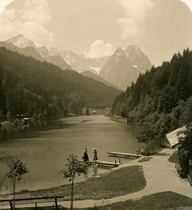 Germany Bavarian Alps Riessersee Old NPG Stereoview Photo 1906
