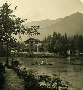 Germany Bavarian Alps Badersee Hotel Old NPG Stereoview Photo 1906