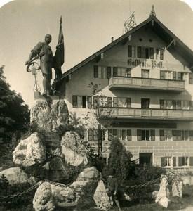 Germany Bavarian Alps Kochel Hotel Monument Old NPG Stereoview Photo 1906