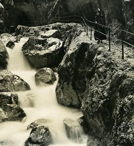 Germany Bavarian Alps Höllentalklamm Gorge Old NPG Stereoview Photo 1906
