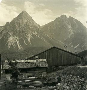 Autriche Tyrol Lermoos Sonnenspitze Wampeter Schrofen Ancienne Photo Stereo NPG 1906