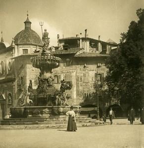 Italie Südtirol Tyrol Trient Trente Fontaine Ancienne Photo Stereo NPG 1906