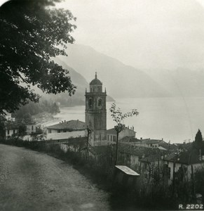 Italie Lac de Côme Bellagio de la Villa Serbelloni Ancienne Photo Stereo 1906