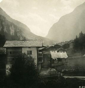 Switzerland Visp Valley Stalden Old Stereoview Photo 1906
