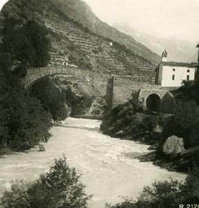 Suisse Vallée de la Viege Visp Stalden Ritibruecke Pont en Pierres Ancienne Photo Stereo 1906