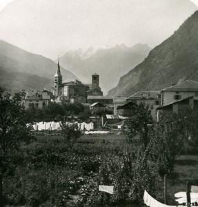 Suisse Visp Viege et le Balfrin Ancienne Photo Stereo 1906