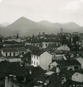 Italie Lac Majeur Pallanza Montagnes Lago Maggiore Ancienne Photo Stereo 1906