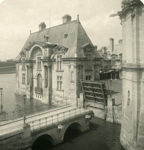 France Chateau de Chantilly Chatelet & Pont Levis Ancienne Photo Stereo NPG 1900