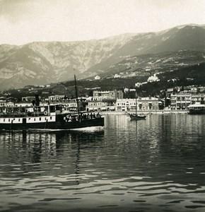 Russia Crimea Yalta Jalta panorama Boats Old NPG Stereo Photo 1900
