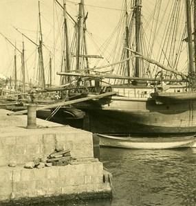 Russia Crimea Yalta Jalta Docks Sailboats Old NPG Stereo Photo 1900
