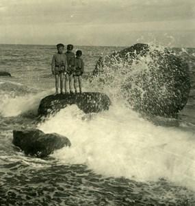 Russia Crimea Yalta Jalta Beach Kids on a Rock Old NPG Stereo Photo 1900