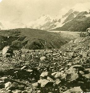 Suisse Haute-Engadine Glacier de Morteratsch Ancienne Photo Stereo 1900