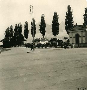 Suisse Ragaz la gare Ancienne Photo Stereo 1900
