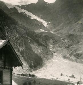 Suisse Glacier du Weisshorn Vallee de la Viege Ancienne Photo Stereo 1900