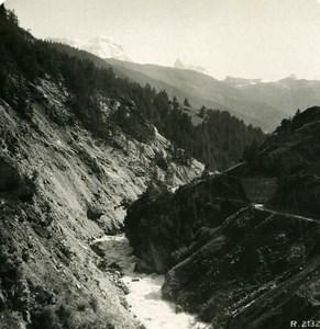 Suisse Vallée de Visp entre Täsch & Zermatt Ancienne Photo Stereo 1900