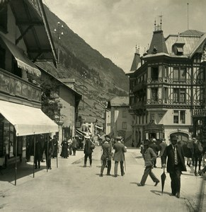 Suisse Zermatt Grand Rue Magasins Hotel Mont Cervin Ancienne Photo Stereo NPG 1900