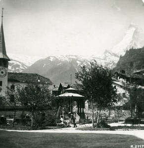 Suisse Zermatt Eglise Hotel Mont Rose Jardins Ancienne Photo Stereo 1900