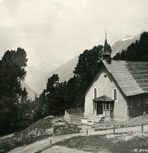 Switzerland Riffelalp English Chapel Old Stereoview Photo 1900