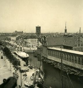 Denmark Copenhagen Holmens Kanal Canal Old NPG Stereo Photo 1900