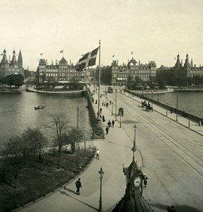 Danemark Copenhague Pont Dronning Louises Bro Ancienne Photo Stereo NPG 1900