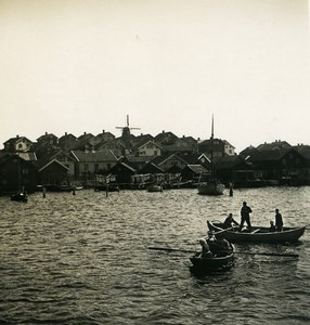 Sweden West Coast Fishermen Boats Old NPG Stereo Photo 1900