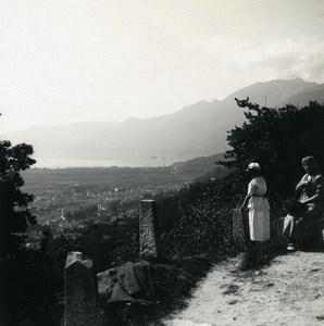 Switzerland Locarno view near Brione Road Old Possemiers Stereoview Photo 1900
