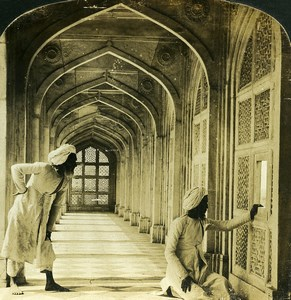 India Agra Marble cloisters of Akbar Tomb Old White Stereoview Photo 1900